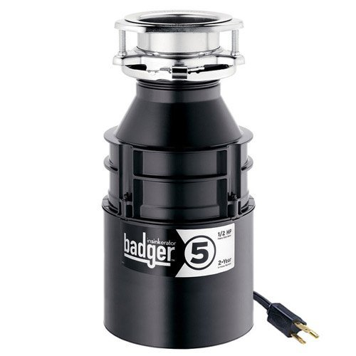 - InSinkErator Garbage Disposal with Cord, Badger 5, 1/2 HP Continuous Feed