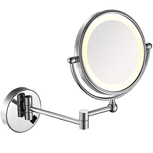 (GURUN 8 Inches LED Lighted Wall Mount Makeup Mirror with 7x Magnification, Double Sided 360 Degree Swivel Chrome Finish,Plug Powered (IBOSD,7x))