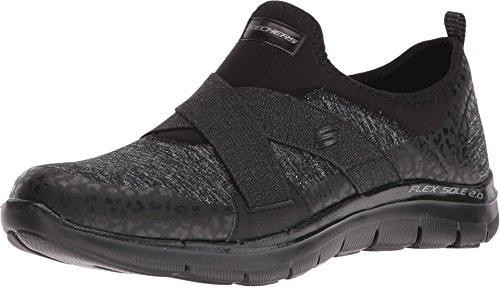 SKECHERS Women's Flex Appeal 2.0 - Fashion Frenzy Black Athletic Shoe (Leopard Tennis Shoes For Women)