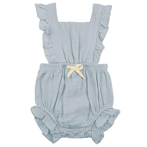 Zando Baby Girl Romper Toddler Ruffled Bowknot Collar Sleeveless Bodysuits Infant One-Piece Jumpsuit Newborn Outfit Clothes Light Green 6-12 Months