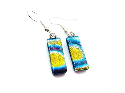 Dangle Yellow Oragne Blue Dichroic Earrings
