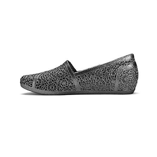 Chemie Y502 Womens Glittered Zigzag Geweven Geweven Nest Nest Mesh Gezellige Snoep Instapperige Jelly Ballet Sandaal Platte Loafer Zwart