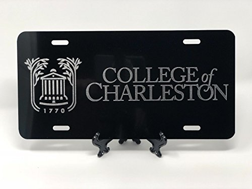 College License Tag - Diamond Etched College of Charleston Tag on Black Aluminum License Plate