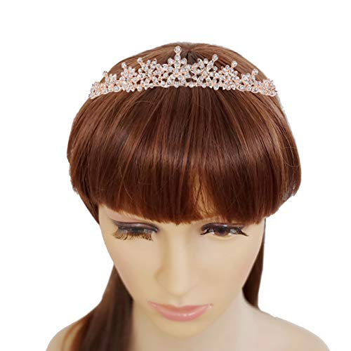 Rhinestone Crystal Tiaras and Crowns Headband For Women Birthday Pageant Wedding Prom Princess Crown, Rose Gold