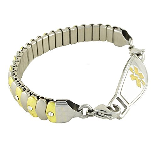 Women's Medical Alert ID Bracelet - Custom Engraving Included, Two-Tone Sparkle, Stretch - Asteria, Gold - Size 7.75 by N-Style ID