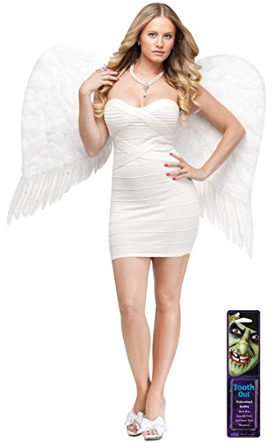[Bundle: 2 Items - Adult Feather Angel Wings White and Free Pack of Makeup (Comes with Free How to Live Stress Free Ebook)] (Angel Of Death Costume Makeup)