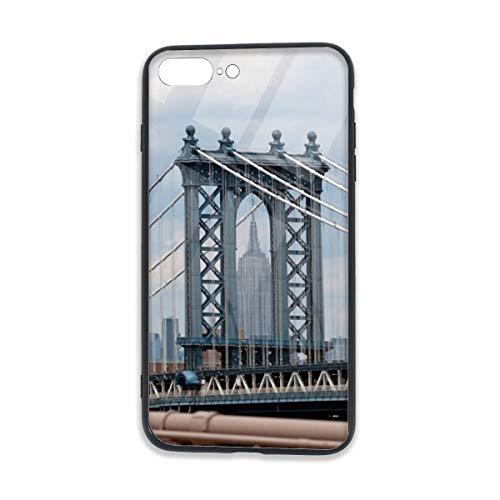 (Empire State Building View Through Manhattan Bridge iPhone 7 Plus TPU Glass Phone Case, iPhone 8 Plus TPU Glass Phone Case,Shock-Absorption Bumper Cover, Anti-Scratch Clear Back)