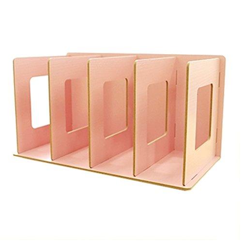 (Trycooling 4 Slots Freestanding DIY Desktop Organizer Rack Wood Board Shelf & Office Supply Holder for CDs/Pens/Books/Cosmetics)