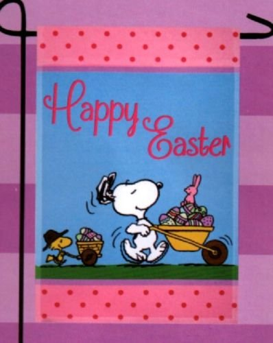 Peanuts Snoopy Happy Easter Flag with Woodstock and