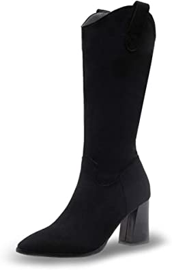 NEW WOMENS RUCHED MID CALF HIGH BLOCK HEEL FAUX SUEDE PLEATED POINTY BOOT SIZES