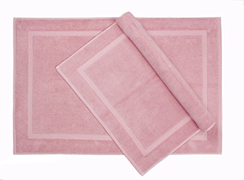 Cotton Craft – 2 Pack Bath Mat Old Rose – 100% Ringspun Cotton Tub Mat 21×34 – Oversized 21×34 Heavy Weight 1000 Grams – 2 Ply Construction – High Absorbent – Soft Underfoot Easy Care Machine Wash