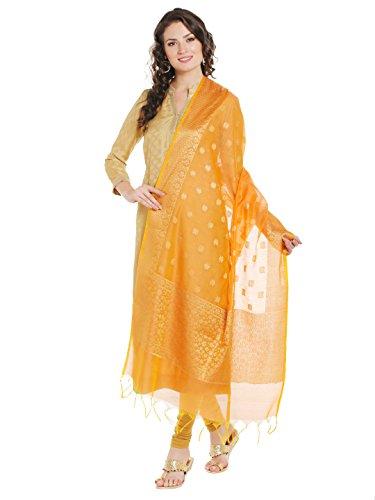 Dupatta Bazaar Women's Benarasi Silk Woven Orange & Gold dupatta