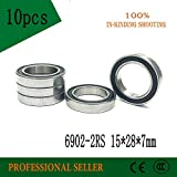 Fevas 10PCS 6902-2RS 15x28x7MM Metric Thin Section Bearings 61902RS 6902 RS Bike hub Part