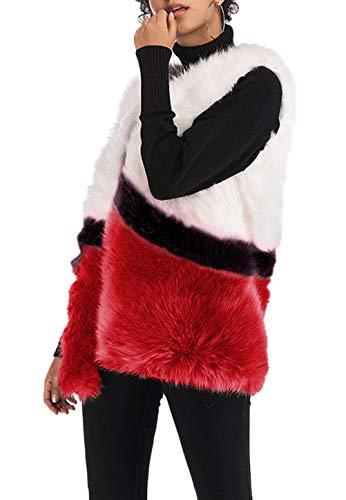 Calda Gil Colori Chic Autunno Moda Donna Giacca Canottiera Misti Pelliccia Fashion Gilet Invernali Sleeveless Alla Di Elegante Vintage Ecopelliccia Termico eQrdCxBoW