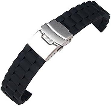 時計バンド 交換ベルト シリコン 腕時計ストラップ 防水  ブラック (24mm)