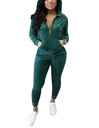 Akmipoem Fashion Casual Zipper Hooded Sweatshirt and Sweatpants Two Piece Set Tracksuit Green L