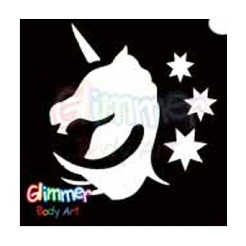 Glimmer Body Art Glitter Tattoo Stencil Unicorn Head