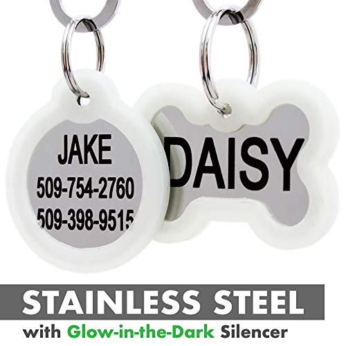GoTags Personalized Dog Tags in Stainless Steel, Includes Glow in The Dark Tag Silencer to Reduce Noise and Protect Tag and Engraving, No Noise, Quiet Pet Tags, 2 Side Engraving, (Round Shape)]()
