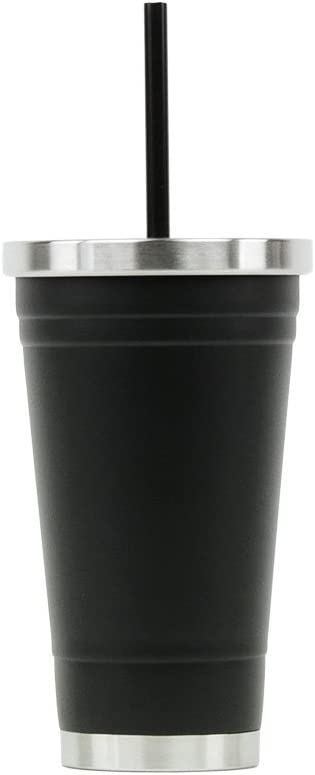 Hot or Cold - Stainless Steel Drink Tumbler - Double Wall Vacuum Insulated -16oz. Capacity - Matte Black