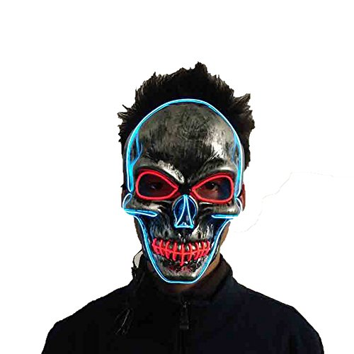 Latburg Led Mask Purge Halloween Light Up Costumes Glow Stick Party City Mask for Parties Festival Costume (blue) -