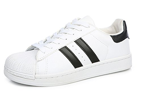 Aisun Dames Trendy Kleurblok Platte Sport Sneakers Wit