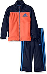 adidas Toddler Boys\' Tricot Zip Up Jacket and Pant Set, Solar Red, 2T
