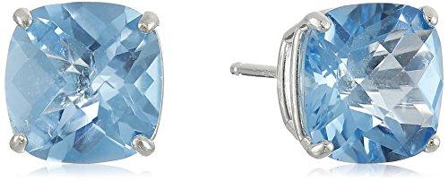 Sterling Silver Cushion-Cut Checkerboard Swiss Blue Topaz Stud Earrings (8mm)