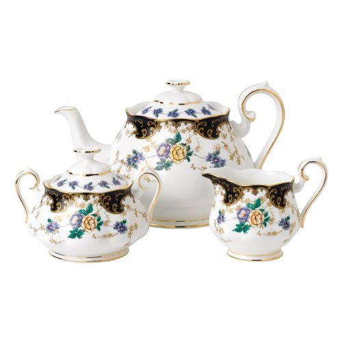 Royal Albert 3 Piece 100 Years 1910 Teapot, Sugar & Creamer Set, Multicolor