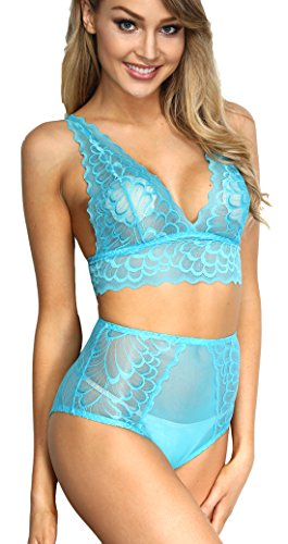 The victory of cupid Women 2 Piece Floral Lingerie Sets Lace Babydoll Bralette Bra and Panty Set (Blue, S)