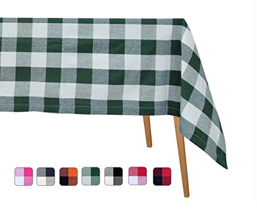 - Cotton Tablecloths - Organic Cotton Tablecloth - Cotton Tablecloths Rectangle - Linen Table Cloth Square - Green Plaid Tablecloth Cotton (Green and Cream), Checked Tablecloth 63 X 109, (160 X277cm)
