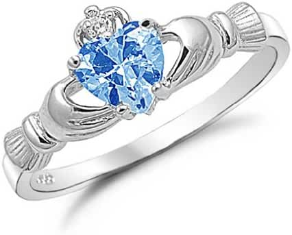 Kriskate & Co. Irish Claddagh Ring .925 Sterling Silver with Simulated Aquamarine Stone Heart Promise Ring