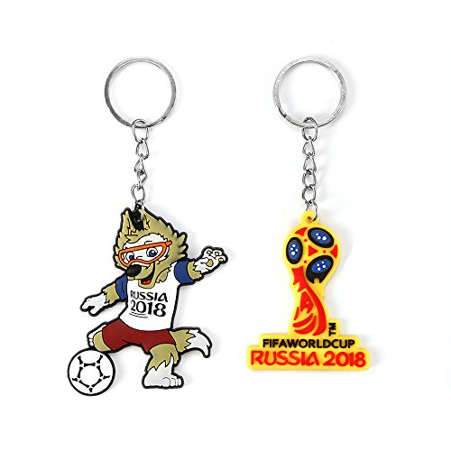 Cartoon Mascot Keychain, Stylish Key Ring for 2018 Russia Football World Cup, Portable Keychain Bag Charm Car Cell Phone Decor, Perfect Gift for Football Fans (Mascot Key Ring)