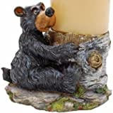 Willie Black Bear Hugging a Birch Stump Candle Holder 5""