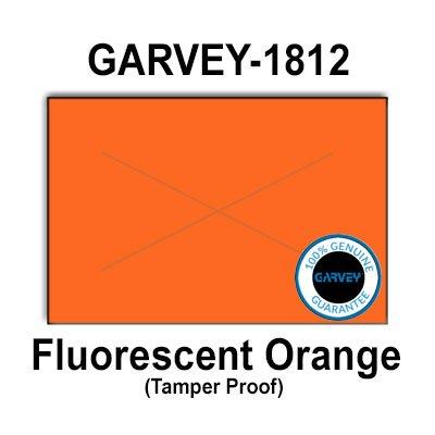 280,000 GENUINE GARVEY 1812 Fluorescent Orange General Purpose Label: full case - 20 ink rollers - tamper proof security -