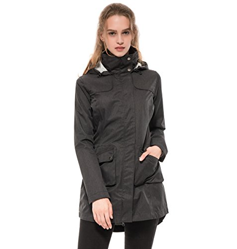 Diamond Candy Women's Waterproof Raincoat Outdoor Hooded Active Lightweight Long Rain Jacket Trench Coats 2019 Black