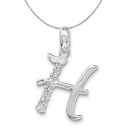Black Bow Jewelry Sterling Silver and CZ, Lauren Collection, Initial H Necklace