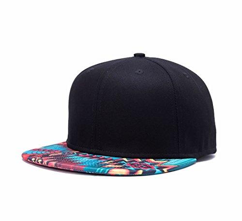 Quanhaigou Fashion Wavy Grain Print Cotton Adjustable Snapback Hats Unisex Hip-Hop Flat Bill Baseball Cap