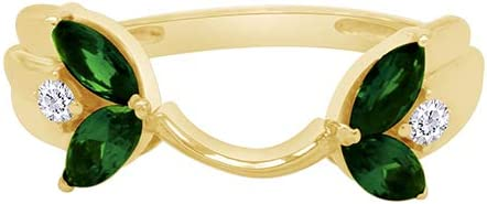 Marquise & Round Marquise & Round Simulated Green Emerald & Cubic Zirconia Enhancer Guard 10k Gold