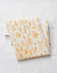 Organic Cotton Ferns Tea Towel in Yellow