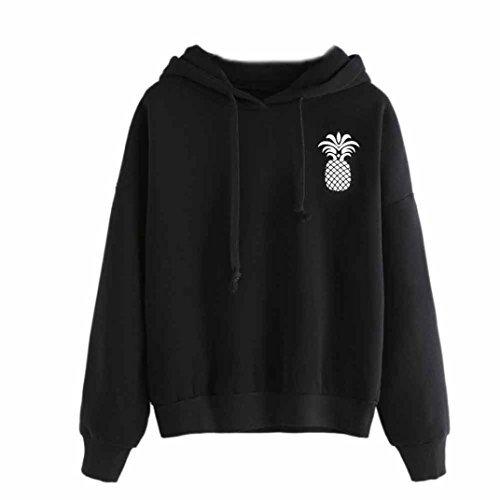 BCDshop Women Fashion Pineapple Print Hoodie Sweatshirt Black Tops Hooded Pullover (M)