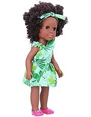 Girl Doll, African Black Girl Doll,(Q14-156 green leaf oblique shoulder skirt)
