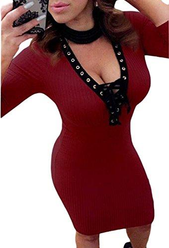 Colore donne Lunga Di Manica Coolred Scollato Rosso Puro Aderenti Cinghie Vestiti 6adwqxX