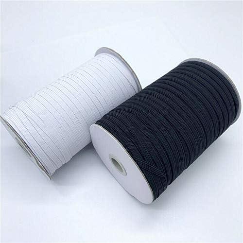 Heavy Stretch Knit Spool Flat Elastic Rope Bungee 10 Meter Length - 6 mm Width LaModaHome Black 10 Yards 1//4 Elastic Band Roll Braided Yarn Sewing Crafting DIY Cord