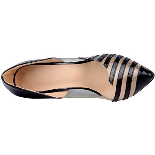 Calaier Women Caoutside 2016 Sweet Bridal Dressing Designer High Heel Peep Toe 12CM Stiletto Slip on Court Shoes Black aP9BsfF