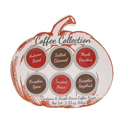 Gourmet Fall Coffee Assortment Sampler - Maple Bourbon, Pumpkin, Salted Caramel, and Pecan- Best Autumn,Thanksgiving or Christmas Gift Box Care Package (Kcups)