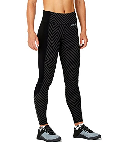 (2XU Women's Fitness Compression Tights w/Storage, Black Phantom Maze/Black, Medium)