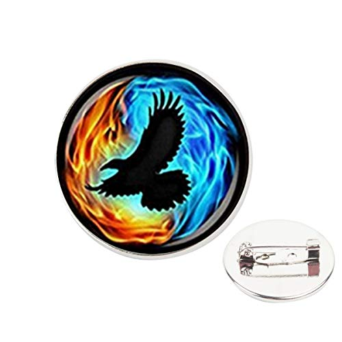 (Pinback Buttons Badges Pins Colorful Twin Flames with Raven Lapel Pin Brooch Clip Trendy Accessory Jacket T-Shirt Bag Hat Shoe)
