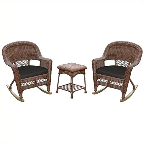 Jeco 3pc Wicker Rocker Chair Set in Honey with Black Cushion