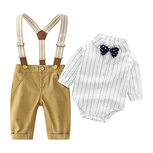 Baby Boys Gentleman Outfits Wedding Suits, Infant Long Sleeve Shirt+Bib Pants+Bow Tie Overalls Clothes Set Yellow -