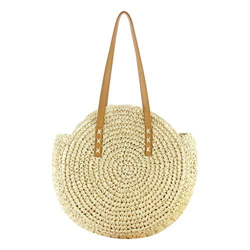 (SUNyongsh New Retro Mori Round Straw Bag Woman Summer Bag Beach Bag Leisure Shoulder Bag)